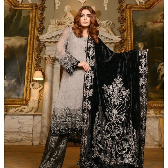 5bade09a36 Dresses   Pakistani Maria B Inspired Black And Gray Suit   Poshmark